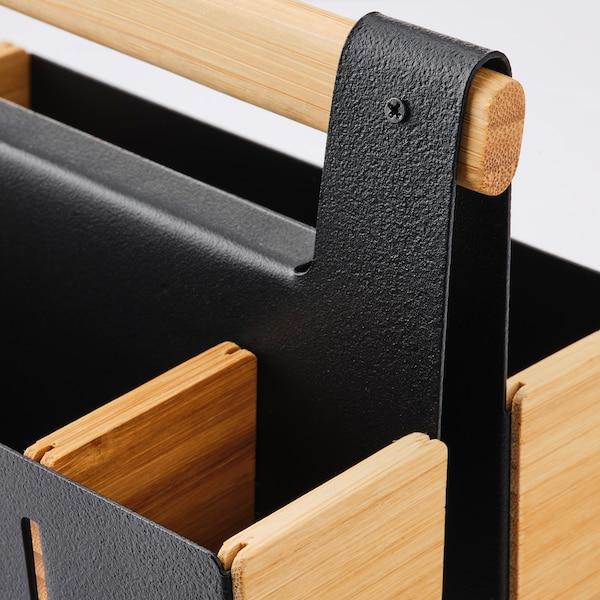ANILINARE 安妮丽娜睿 办公桌收纳件, 竹/黑色, 18x13 厘米