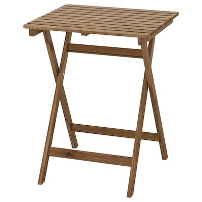ASKHOLMEN 阿霍蒙 桌子,户外, 可折叠 着浅褐色漆, 60x62 厘米