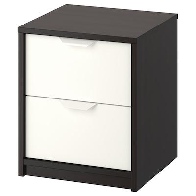 ASKVOLL 艾思福 两斗抽屉柜, 黑褐色/白色, 41x49 厘米