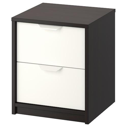 艾思福 两斗抽屉柜 黑褐色/白色 41 厘米 41 厘米 49 厘米 32 厘米 33 厘米 4 公斤