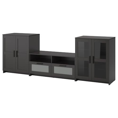 百灵 视听储物组合/玻璃门, 黑色, 276x41x95 厘米