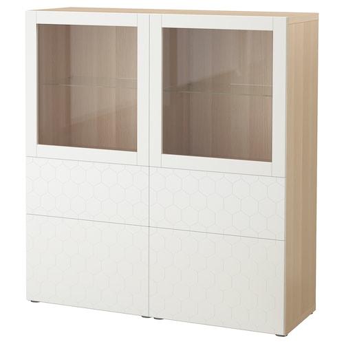 贝达 玻璃门储物组合, 仿白色橡木纹/瓦斯维肯 白色透明玻璃, 120x40x128 厘米