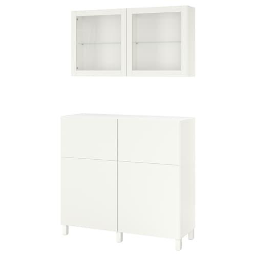 贝达 储物组合带门/抽屉, 白色/Lappviken/Stubbarp 白色透明玻璃, 120x42x240 厘米