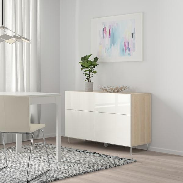 贝达 储物组合带门/抽屉, 仿白色橡木纹/Selsviken/Stallarp 高光白, 120x40x74 厘米