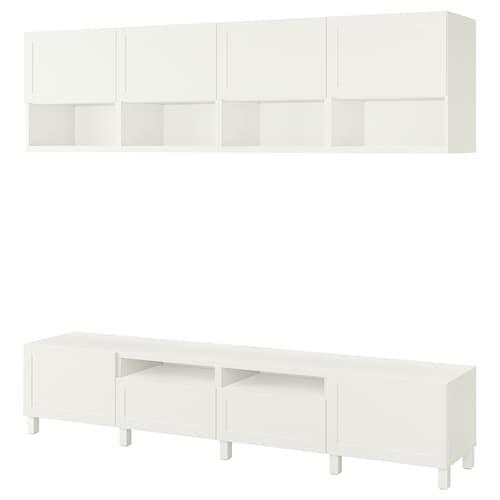 贝达 电视机组合柜, 白色/韩维肯/斯托巴 白色, 240x42x230 厘米