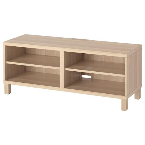 贝达 电视柜, 仿白色橡木纹, 120x40x48 厘米