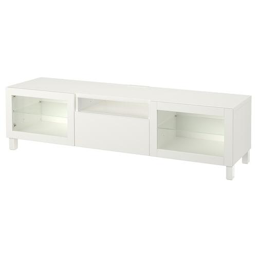 贝达 电视柜, 拉维肯/欣维 白色透明玻璃, 180x42x48 厘米
