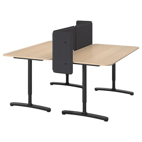 贝肯特 带隔板办公桌, 白色橡木贴面/黑色, 160x160 55 厘米