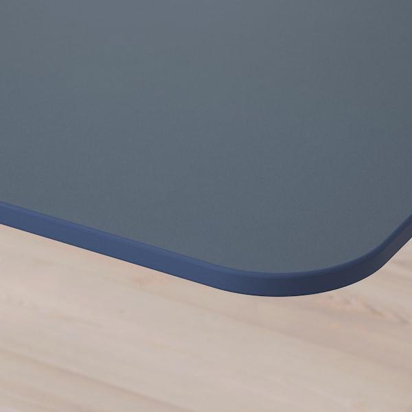 贝肯特 带隔板办公桌, 油毡 蓝色/白色, 320x160 120 厘米