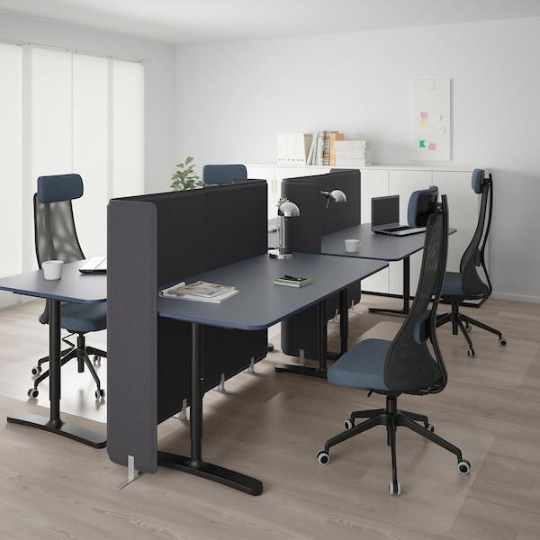 贝肯特 带隔板办公桌, 油毡 蓝色/黑色, 320x160 120 厘米