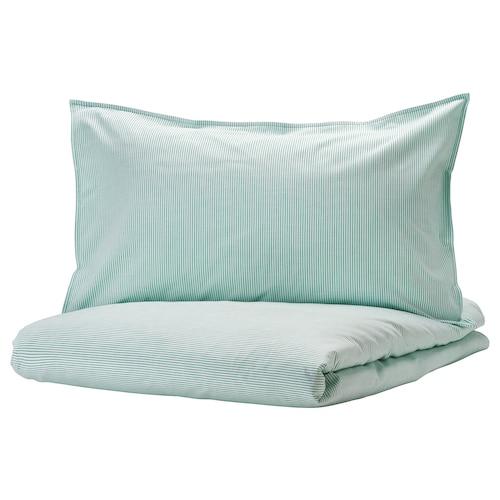 贝利帕姆 被套和2个枕套, 白色/绿色/条纹, 240x220/50x80 厘米