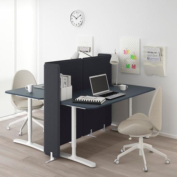 BEKANT 贝肯特 带隔板办公桌, 油毡 蓝色/白色, 160x160 120 厘米