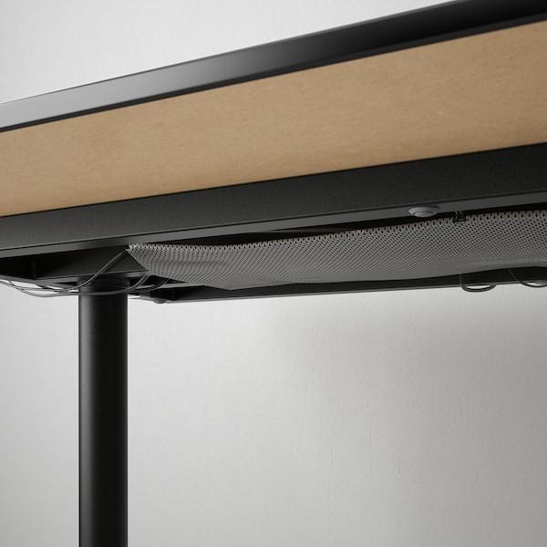 BEKANT 贝肯特 书桌, 黑色白蜡木贴面/黑色, 160x80 厘米