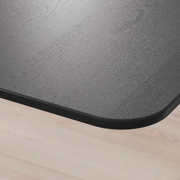 BEKANT 贝肯特 坐/站两用式转角办公桌右, 黑色白蜡木贴面 白色, 160x110 厘米