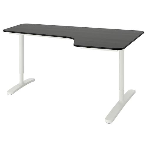 贝肯特 右侧转角式办公桌 黑色白蜡木贴面/白色 160 厘米 110 厘米 65 厘米 85 厘米 100 公斤