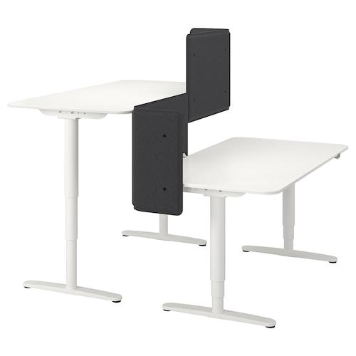 贝肯特 坐/立两用办公桌,带隔板 白色 55 厘米 160 厘米 160 厘米 65 厘米 125 厘米 70 公斤