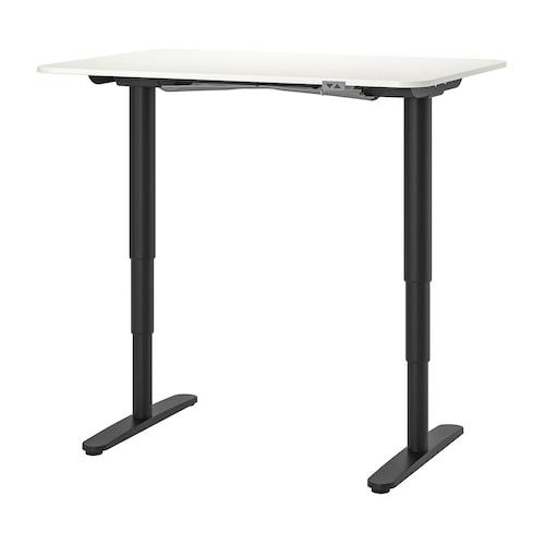贝肯特 坐/站两用式办公桌 白色/黑色 120 厘米 80 厘米 65 厘米 125 厘米 70 公斤