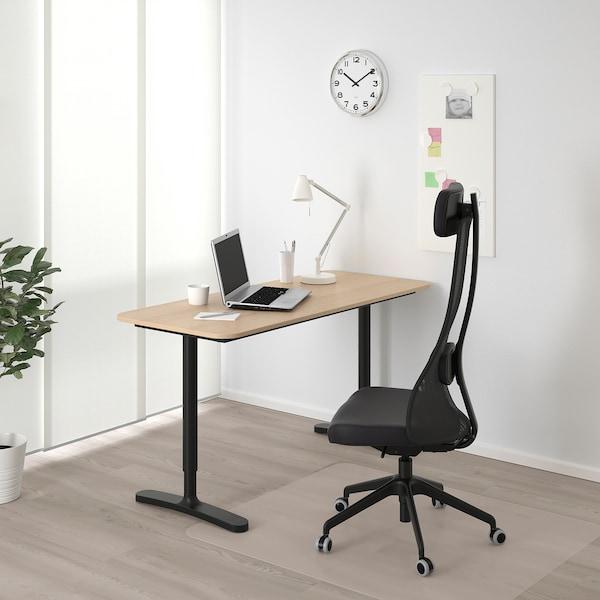 贝肯特 书桌 白色橡木贴面/黑色 140 厘米 60 厘米 65 厘米 85 厘米 100 公斤