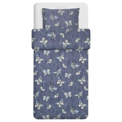 BERGKÅREL 巴利克 被套和枕套, 深蓝色/蝴蝶, 150x200/50x80 厘米
