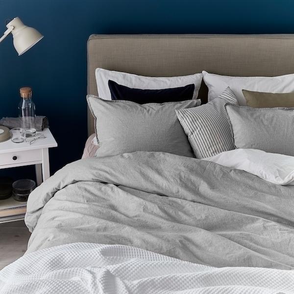 BERGPALM 贝利帕姆 被套和2个枕套, 灰色/条纹, 240x220/50x80 厘米