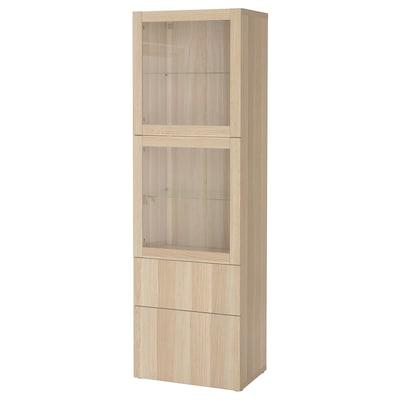 BESTÅ 贝达 玻璃门储物组合, 仿白色橡木纹/拉维肯 白橡木纹/透明玻璃, 60x42x193 厘米