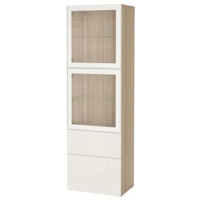 BESTÅ 贝达 玻璃门储物组合, 仿白色橡木纹/赛维肯 高光/白色透明玻璃, 60x42x193 厘米