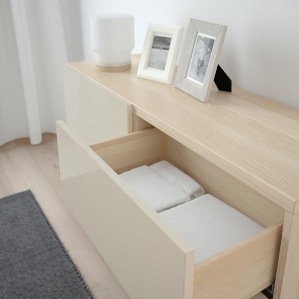 BESTÅ 贝达 储物组合带门/抽屉, 仿白色橡木纹/Selsviken/Stallarp 高光/米色, 120x40x74 厘米