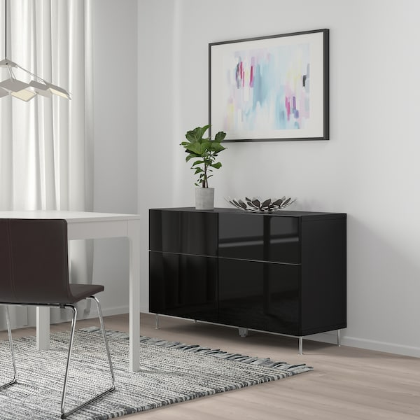 BESTÅ 贝达 储物组合带门/抽屉, 黑褐色/Selsviken/Stallarp 高光/黑, 120x40x74 厘米
