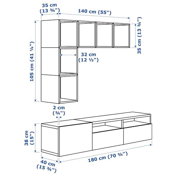贝达 / 伊克特 电视柜组合 白色/深灰色/红色 70 厘米 180 厘米 42 厘米 170 厘米