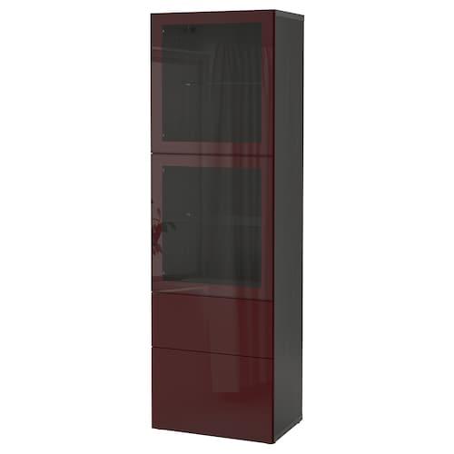 贝达 玻璃门储物组合 黑褐色 赛维肯/深红褐色 透明玻璃 60 厘米 42 厘米 193 厘米