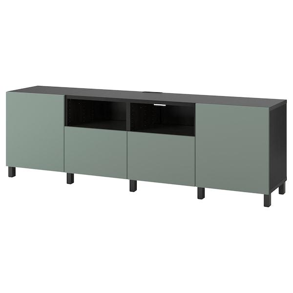 贝达 带门带抽屉电视柜 黑褐色/诺特维肯/斯托巴 灰绿色 240 厘米 42 厘米 74 厘米