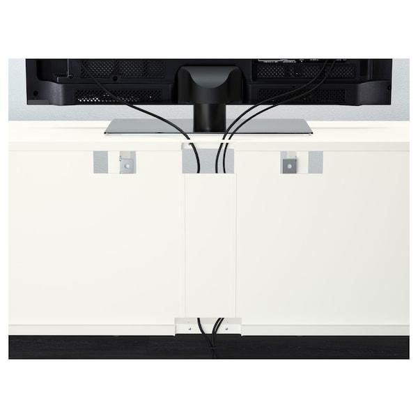 贝达 视听储物组合/玻璃门 白色/赛维肯 高光/米色霜玻璃 180 厘米 40 厘米 192 厘米