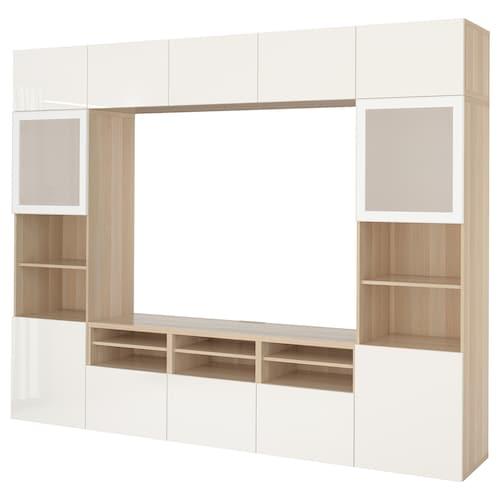 贝达 视听储物组合/玻璃门 仿白色橡木纹/赛维肯 高光/白色磨砂玻璃 300 厘米 40 厘米 230 厘米