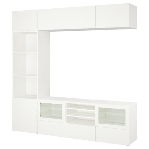 贝达 视听储物组合/玻璃门 拉维肯/欣维 白色透明玻璃 240 厘米 40 厘米 230 厘米