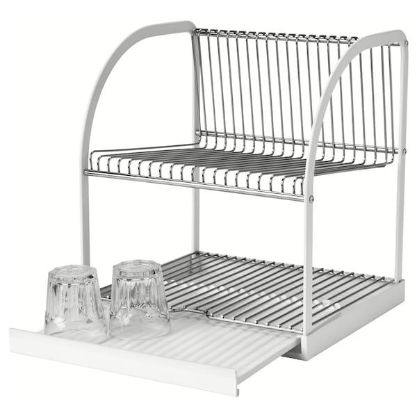 BESTÅENDE 贝汤德 餐具滤干架, 银色/白色, 32x29x36 厘米