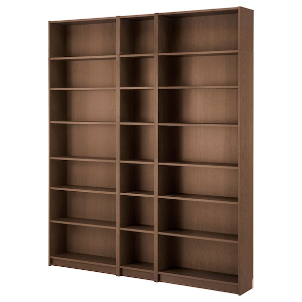 BILLY 毕利 书架, 褐色 白蜡木贴面, 200x28x237 厘米