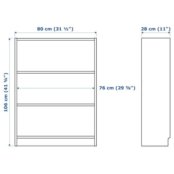 毕利 / 波特纳 书架带展示搁板 白色橡木贴面/米黄色 80 厘米 28 厘米 106 厘米 30 公斤