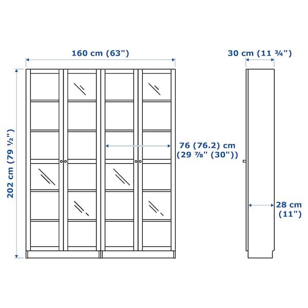 毕利 / 奥克伯 书柜组合,带门 白色橡木贴面/玻璃 160 厘米 30 厘米 202 厘米 30 公斤