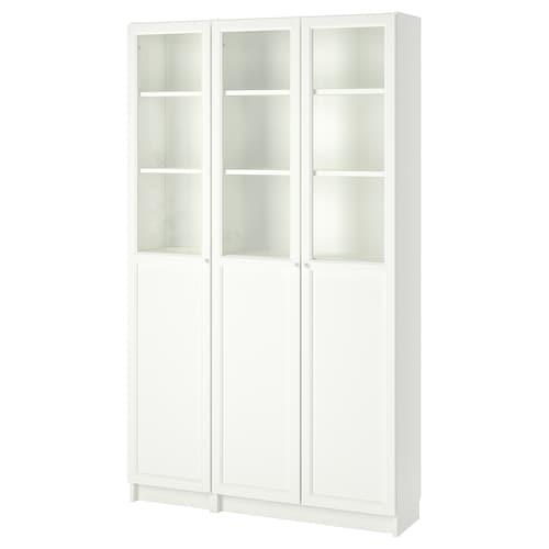 毕利 / 奥克伯 带板/玻璃门书柜 白色/玻璃 120 厘米 30 厘米 202 厘米 30 公斤