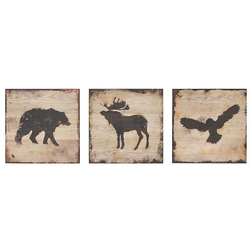 约纳姆 图片,3件套 动物 25 厘米 25 厘米