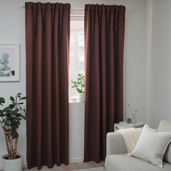 BLÅHUVA 布落户瓦 遮光窗帘,两幅, 红褐色, 145x250 厘米