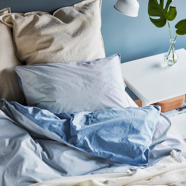 BLÅVINDA 布拉文达 被套和2个枕套, 浅蓝色, 200x230/50x80 厘米