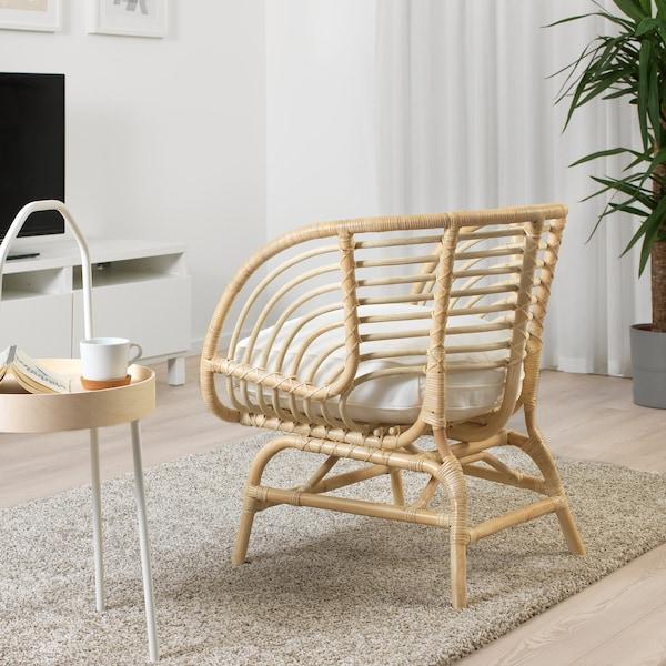 布克伯 单人沙发/扶手椅, 藤条/德维克 白色