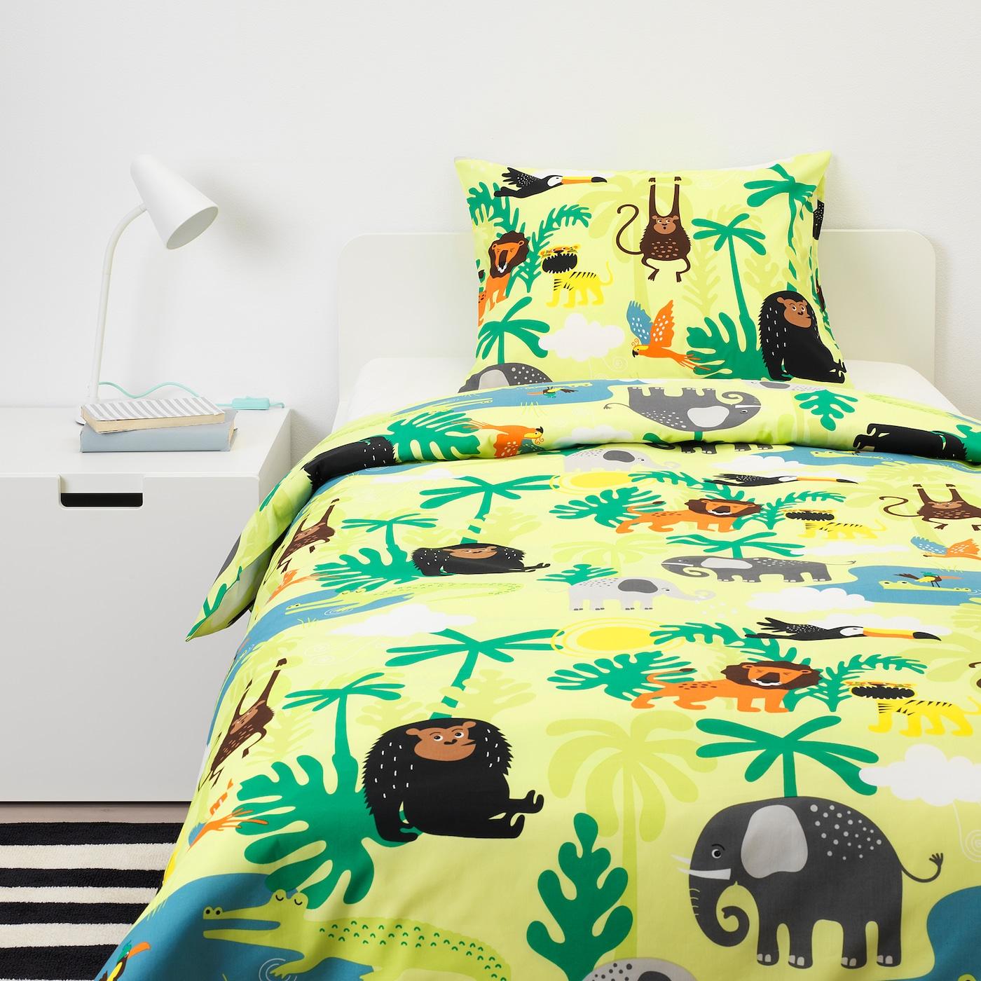 DJUNGELSKOG 尤恩格斯库格 被套和枕套, 动物/绿色, 150x200/50x80 厘米