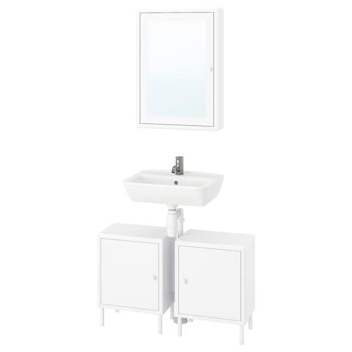 迪南 / 泰肯 浴室家具,5件套 白色/PILKÅN 皮勒孔 水龙头 80 厘米 27 厘米