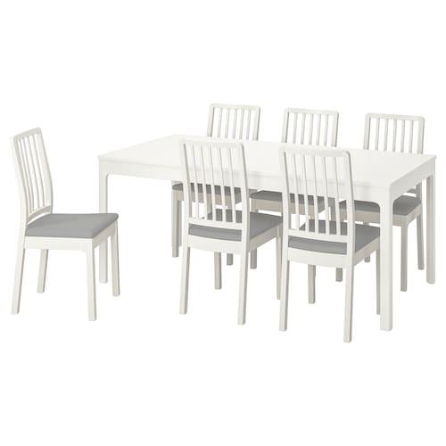 伊克多兰 / 伊克多兰 桌子和6把椅子 白色/欧斯塔 淡灰色 180 厘米 240 厘米