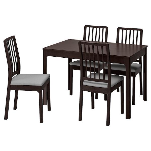 EKEDALEN 伊克多兰 一桌四椅, 深褐色/欧斯塔 淡灰色, 120/180 厘米