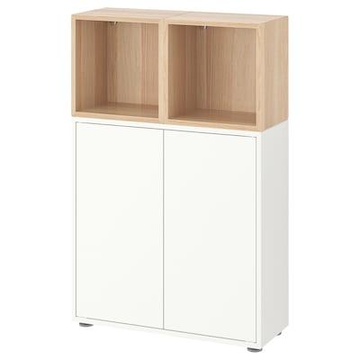 EKET 伊克特 带支脚橱柜组合, 白色/仿白色橡木纹, 70x25x107 厘米