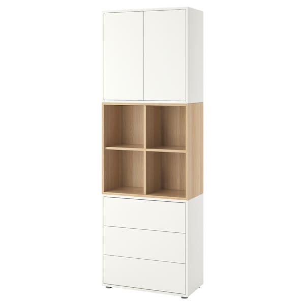 EKET 伊克特 带支脚橱柜组合, 白色/仿白色橡木纹, 70x35x212 厘米