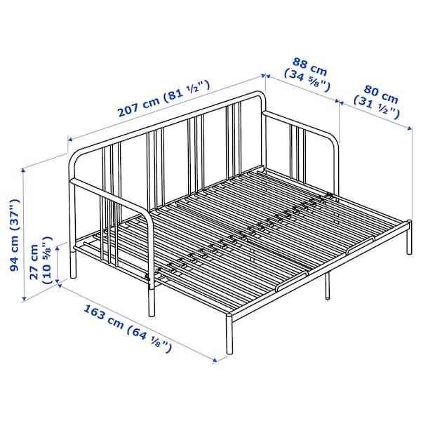 费斯多 坐卧两用床,带2个床垫, 黑色/穆索特 硬型, 80x200 厘米